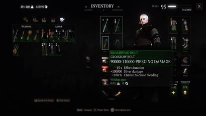 Убивающие болты в Ведьмак 3